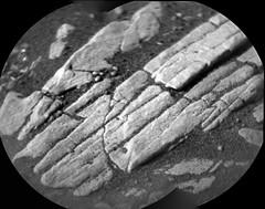 Rocks on the Floor (sjrankin) Tags: 26april2019 edited nasa closeup grayscale panorama msl curiosity galecrater mars rocks sand