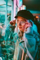 Arcade (AlexanderHorn) Tags: portrait retro spielberg arcade gaming woman face eyes vintage jeans denim portraiture