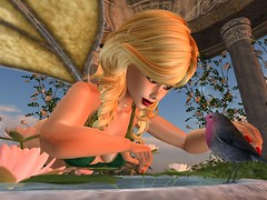 Tell Her What I Have Said (Cherie Langer) Tags: elven elves fae bird fountain message messenger