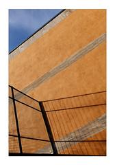 Sunshield-Fence (Thomas Listl) Tags: thomaslistl color fence hff shadow lightandshadow contrasts orange lines architecture diagonal geometry geometric graphical blue sky sunlight wall
