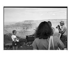 Grand Canyon Too, 2 (Richard C. Johnson: AKA fishwrapcomix) Tags: leicam2 leitzelmar50mmf28 film ilfordxp analog analogue scanfromnegative filmisnotdead iusedtoshootfilm istillshootfilm blackandwhite bw monochrome building 1980s archive mybackpages 20thcentury iwassomucholderthen… touristsamerica outdoor icecream people coloradoriver naturalwonder