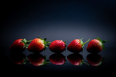 116/365, 26/100 & 26/30 All in a Row (belincs) Tags: stilllife oneaday blackbackground flash aprilproject strawberries lincolnshire 365 indoors 2019 uk april 365the2019edition 3652019 day116365 26apr19 100xthe2019edition 100x2019 image26100
