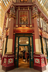 Leadenhall Market (josullivan.59) Tags: 2019 april england europe ledenhall london reiss uk architecture city commercial downtown historic interior market old red travel urban wallpaper 3exp texture yellow architectural day detail historical
