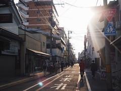 The way home(Kyoto Japan) (Wan.L) Tags: 止まれ streetphoto streetview streetphotography street people asia japan kyoto sunshine sunset penf olympus m43 夕焼け オリンパス 人 陽光 夕陽 街景 京都 日本