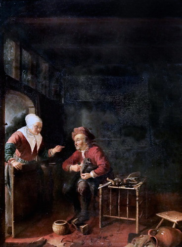IMG_1176 Pieter van Slingelandt 1640-1691 Leiden Schuhmacher in der Werkstatt.  Cordonnier dans son atelier Shoemaker in his workshop Schwerin.Staatliches Museum Elève de Gérard Dou, école de Leyde.  Pupil of Gérard Dou, Leiden school.