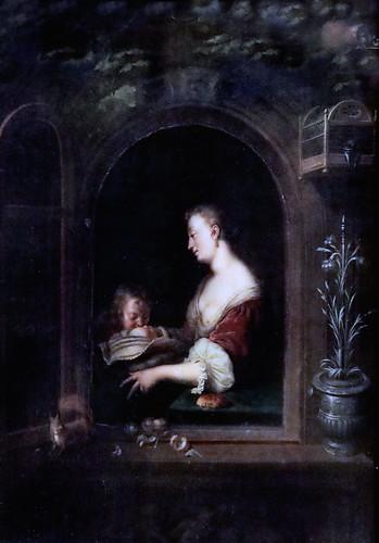 IMG_1172 Willem van Mieris 1662-1747 Leiden  Mutterglück  Bonheur de mère. Happiness of mother.  1708 Schwerin.Staatliches Museum
