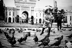 Running Around The Pigeons (Erman Peremeci) Tags: pigeons beyazıt child sonyalpha streetphotography blackandwhite zeisstouit32mm emount bw istanbul carlzeiss a6500