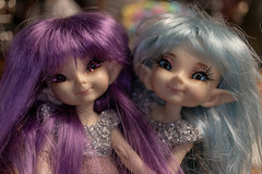 Introducing the Sparkle Sisters! :-) (Dotsy McCurly) Tags: arttoy artdoll custom eyes hair wig sparklesisters sparkling fun canoneos80d efs35mmf28macroisstm fairy elf