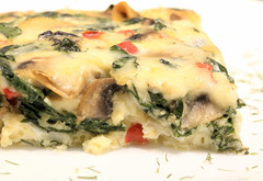 Frittata (Cindy's Here) Tags: frittata spinach mushroom redpepper mozzarella cheese canon smileonsaturday hsos
