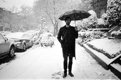 (SamBHart) Tags: 35mmfilm bwfilm newyorkcity newyork bw blackandwhite nikonfm2 35mmlens trix brooklyn personal friends snow umbrella winter