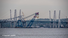Governor Mario M. Cuomo Bridge on the Hudson River, Tarrytown, New York (jag9889) Tags: 1955 2019 20190425 barge bridge cablestayed cantilever construction crane dismantling floating floatingcrane giant governormalcolmwilsontappanzeebridge hudsonriver iliftny k004 k893 leftcoastlifter lifter mariomcuomobridge ny newnybridge newyork newyorkthruway orangetown outdoor piermont river rocklandcounty section southnyack span structure supercrane tappanzee tappanzeebridge tappanzeebridgereplacement tarrytown thenewnybridge twinspan usa unitedstates unitedstatesofamerica water waterway westchestercounty jag9889