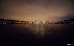 Sleepless (g-liu) Tags: seattle washington gasworkspark water longexposure night predawn city urban skyscrapers cityscape cloudy lights vignette sony a6500 2018