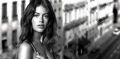 (horlo) Tags: doutzenkroes bw blackandwhite vintage noiretblanc nb wallpaper fonddécran glamour monochrome woman femme portrait collage