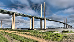 Dartford Crossing (Croydon Clicker) Tags: bridge crossing suspension river thames water sky cloud grass footpath dartford greenhithe kent hdr
