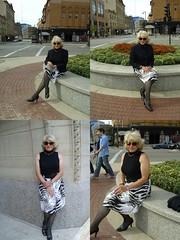 Portfolio Dreams (Laurette Victoria) Tags: composite downtown milwaukee woman laurette turtleneck jacket blonde sunglasses skirt patternedhose