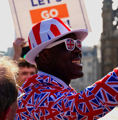 Brexit Day (Sarah Marston) Tags: brexit london westminster man flags sony ilce6300 march 2019 street photography