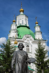 Statue of the painter Vasily Surikov in front of the Intercession Cathedral in Krasnoyarsk - Siberia - Russia (PascalBo) Tags: nikon d500 asia asie northasia asiedunord russia russie russianfederation россия siberia sibérie сибирь krasnoyarsk krasnoïarsk красноярск city ville building bâtiment architecture summer followupsiberia église church cathedral cathédrale orthodoxe orthodox religion statue sculpture outdoor outdoors pascalboegli