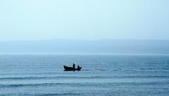 Sailing the blues away (John (Thank you for >2 million views)) Tags: fishingboat filey sea ocean northsea yorkshire silhouette blue coastaluk ukcoastline blueforyoume2019 smileonsaturday