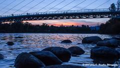 Sundown (Jerry Hamblen) Tags: sundialbridge sacramentoriver sacramento river bridge sundial reddingca sundown rocks
