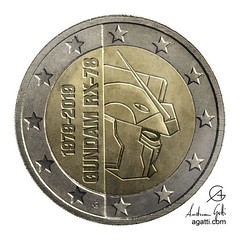 gundam 2 euros coin (http://www.agatti.com) Tags: scifi sciencefiction alternate reality uchronia robot mecha kaiju monster crossover anime manga fanart fan pop art popart culture gundamuniverse mobilesuit gundam rx78 efsf zeon coin euro transparency png europe european union 40th anniversary celebration birthday celebrating event celebrate ceremony logo text star icon age gold silver grey gray backgroung metal money shape round etching engraving edge texture