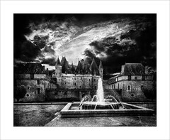 The Old Chateau (tkimages2011) Tags: iphone smartphone mobilephone mobile phone mono monochrome france french chateau sky clouds moody drama fountain outside outdoor landscape building texture niksfx chateaudejumilhac jumilhaclegrande dordogne