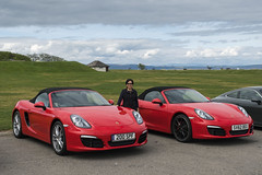 Red Pet (syf22) Tags: scottishhighlands highlandsofscotland moreyshire red guardsred porsche porscheclubgb porscheclubgbregion2 porscheboxster boxsters boxster981s germanmade madeingermany midengine flatsix flatsixengine motor motorcar automobile auto autocar automotor car vehicle nairn carpark petty pairs same identical together group