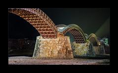 Bridge of Luck (richieb56) Tags: travel reise japan iwakuni prefecture wood holz building bridge brücke nacht darkness night light historic yamaguchi kintai nishiki river fluss kintaikyo luck glück yokohama