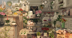 Not your ordinary modern farmhouse kitchen...... (kellytopaz) Tags: dust bunny hive uber kitchen pots coffee cart flowers spring farmhouse modern second life decor decorate virtual living roses vase ivy island event