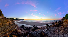 Wisps of pink (JustAddVignette) Tags: australia beforedawn clouds firstlight headland landscapes newsouthwales northernbeaches ocean panorama pink rocks sand seascape seawater sky sydney turimetta water