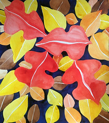 Watercolor Painting (Imara U.) Tags: watercolor watercolors pintura painting aquarela art arte artista artist abstract pattern nature natureza patterns flowers leaves leaf colorful colors color colorido cores cor work inspirations