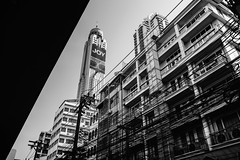 Baiyoke Tower, Sky Hotel. (Andy @ Pang Ket Vui ( shootx2 )) Tags: baiyoke sky scrapper tower hotel tallest building thailand bangkok fujifilm x100f wclx100ii wide conversion lens black white rooftop