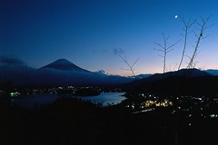 Shrouded (VLKong) Tags: rdpiii provia100f nikonfm3a primefilmxas mountfuji crescent moon hoshinoyafuji lakekawaguchi 河口湖 kawaguchiko kawaguchikonaturallivingcenter