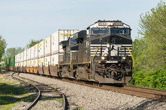 19-1636 (George Hamlin) Tags: virginia white post railroad freight train intermodal norfolk southern railway ns 203 general electric 8042 diesel locomotive containers double stack track siding sky trees rural countryside photo decor george hamlin photography
