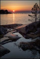 Ännu en solnedgång (Jonas Thomén) Tags: sunset solnedgång fäboda cliffs klippor puddle vattenpöl hav sea träd tree water vatten stone sten hdr