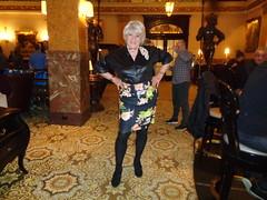 Once Again, Being Ignored! (Laurette Victoria) Tags: lobby milwaukee pfisterhotel woman laurette tights skirt blonde kerchief