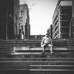 have a seat (bentruetschler) Tags: streetfotografie streetphotography street stairs contrast bensnaps blackandwhite bw hamburg olympus 25mm city hafencity
