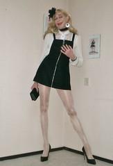Ensemble in black and white. (sabine57) Tags: crossdressing transvestism crossdress crossdresser cd tgirl tranny transgender transvestite tv travestie drag pumps highheels pantyhose tights dress lbd blouse whiteblouse handbag purse clutch choker flower