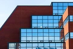 Levels (Karen_Chappell) Tags: stjohns memorialuniversity university mun building windows glass reflections blue brick architecture campus city urban newfoundland nfld canada atlanticcanada eastcoast avalonpeninsula geometry geometric rectangle lines canonef24105mmf4lisusm