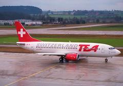 TEA Boeing 737-300; HB-IIB@ZRH;03.02.1996 (Aero Icarus) Tags: zrh zürichkloten zurichairport zürichflughafen lszh plane avion aircraft flugzeug negativescan