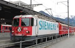"""Rhätische Bahn (RhB) Ge 4/4 II 616 """"Filisur"""" advertising Siemens (Ray's Photo Collection) Tags: rhb 616 landquart gr switzerland schweiz suisse swiss railway station electric locomotive loco siemens ge44ii filisur rhätische bahn"""