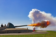 Fire! (Sterling67) Tags: fire big gun fort scratchley flame explosion blue skies clouds smoke anzac canon 7d tamron 2470 outside