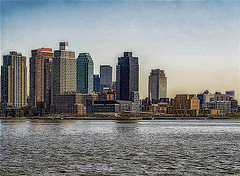 """Panoramic View Of Long Island City Along East River Waterfront (nrhodesphotos(the_eye_of_the_moment)) Tags: dsc081793001084 """"theeyeofthemoment21gmailcom"""" """"wwwflickrcomphotostheeyeofthemoment"""" panoramic waterfront outdoors lic longislandcity hirise architecture buildings windows eastriver perspective metal glass church roadway bridge reflections shadows spring2019 signs warehouses"""