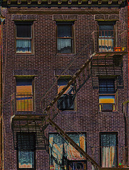 """Tenement Building On Eastside Manhattan Window Reflections and Shadows (nrhodesphotos(the_eye_of_the_moment)) Tags: dsc081603001084 """"theeyeofthemoment21gmailcom"""" """"wwwflickrcomphotostheeyeofthemoment"""" tenementbuilding fireescapes metal shadows reflections windows outdoors glass brick nyc eastside manhattan"""