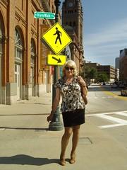 Now I Even Have Arrows Pointing Me Out! (Laurette Victoria) Tags: blonde skirt blouse street laurette sunglasses
