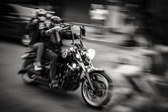 Hells Angels panning shot (sped off too fast to focus) (Mat Mayer) Tags: hellsangels motorists motorbike motorcycle monochrome fuji27mm fuji fujistreet street streetshot streetphotography acros panning pan blur outoffocus motionblur intentionalmotion