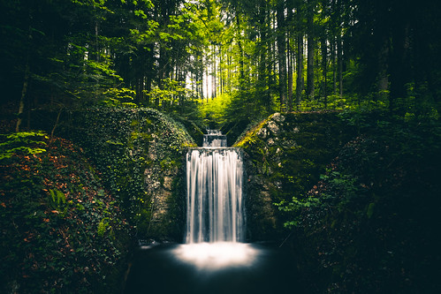Artificial waterfall in the forest