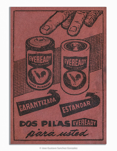 Calendario 1958.Eveready Batteries Advertising On The Back Cover Of The Calendario