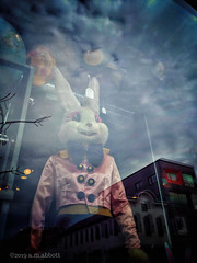 Leporidae Hominidae (ilovecoffeeyesido) Tags: mannequin reflection wickerpark chicagoil snapseed cellphone mobilephone rabbit bvintage storebvintage