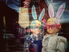 In the Glass Warren (ilovecoffeeyesido) Tags: mannequin reflection wickerpark chicagoil snapseed cellphone mobilephone rabbit bvintage storebvintage