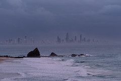 Pink Morning First Surfer (armct) Tags: sunrise mist spray shroud surf surfbeach surfer first sand rocks beach morning muted downtown nightlighs fog waves foam breaking people currumbin goldcoast surfersparadise contrast stark basalt silhouette